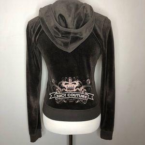 Juicy Couture Brown Velour Embellished Hoodie